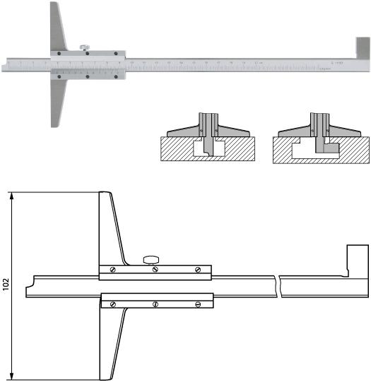 Multifunktions-Tiefenmessschieber 200 mm mit wechselbarer Schiene, Noniuswert 0,02