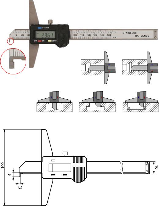 Digitaler Tiefenmesschieber mit Haken 150 mm