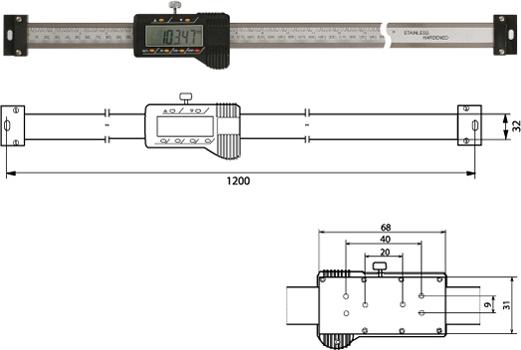 Digitaler Anbaumessschieber (horizontal)  1000 mm