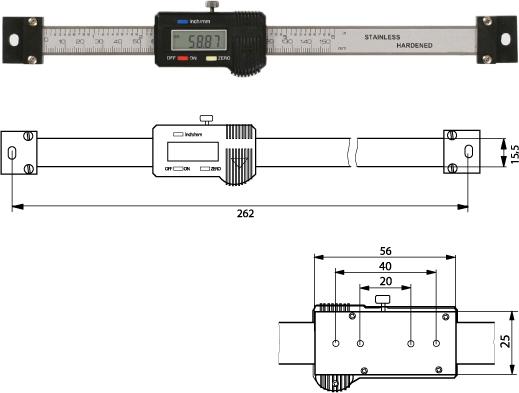 Digitaler Anbaumessschieber (horizontal)   150 mm