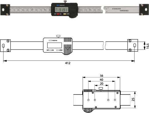 Digitaler Anbaumessschieber (horizontal)   300 mm