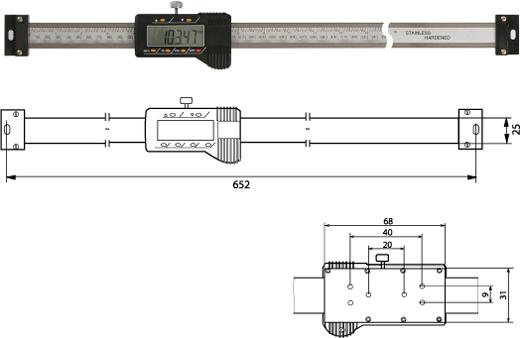Digitaler Anbaumessschieber (horizontal)   500 mm