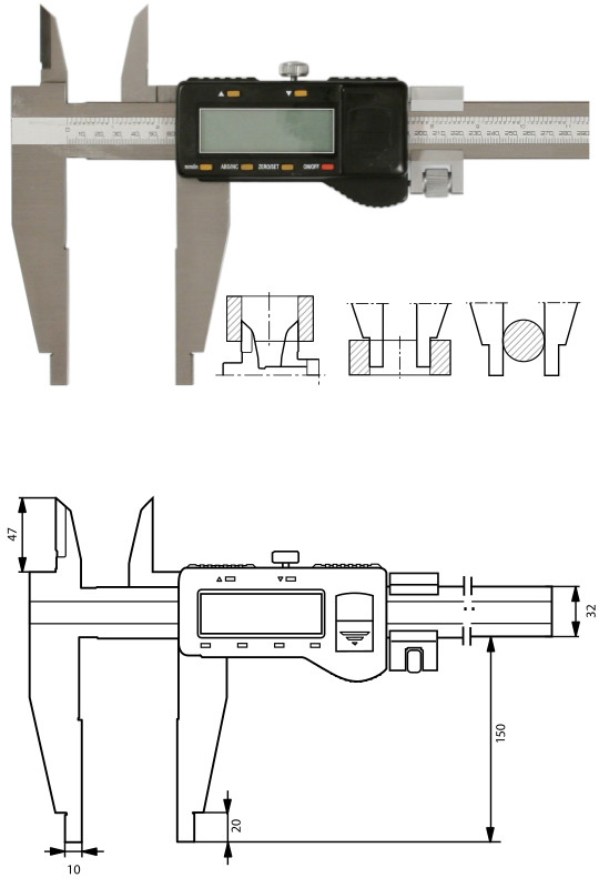 Digitaler Werkstattmessschieber  1000 mm, Form D