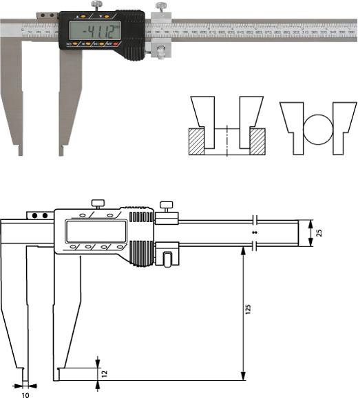 Digitaler Werkstattmessschieber   500 mm, Form E