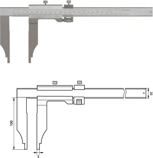 Monoblock-Messschieber 200 mm  / 100mm Messschenkel mit Feinverstellung, Noniuswert 0,05