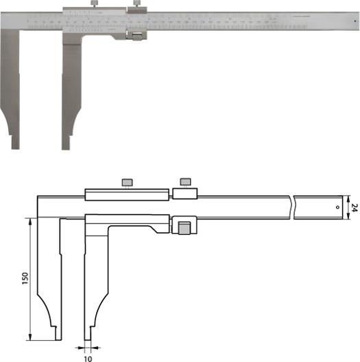 Monoblock-Messschieber 300 mm / 150mm Messschenkel mit Feinverstellung,  Noniuswert 0,05