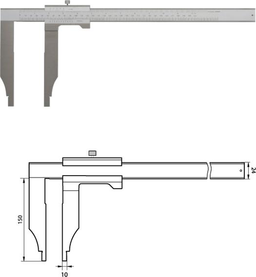Monoblock-Messschieber 300 mm  /  / 150mm Messschenkel, Noniuswert 0,05