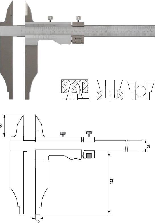 Monoblock Werkstattmessschieber  500 mm, Form B