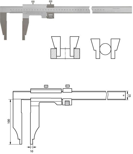 Monoblock-Messschieber 500 mm mit Feinverstellung, DIN 862 E, Noniuswert 0,02