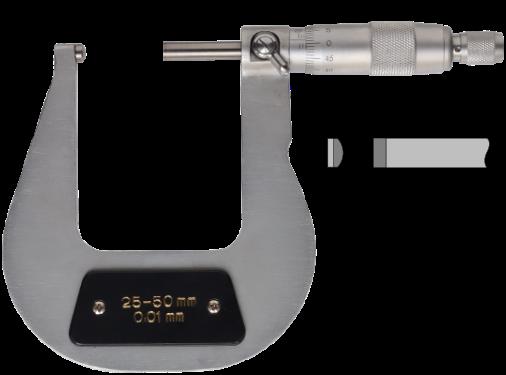 Bügelmessschraube zur Rohrwanddickenmessung mit balligem Amboss  25-50 mm