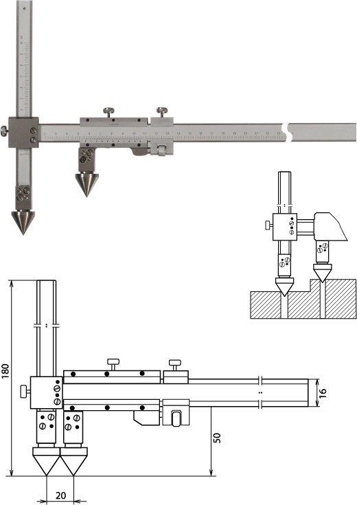 Nonius Messschieber für die Abstandsmessung, Mittelpunkt-Mittelpunkt 150 mm