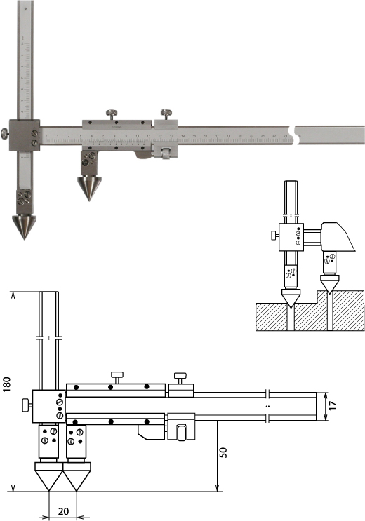 Nonius Messschieber für die Abstandsmessung, Mittelpunkt-Mittelpunkt 300 mm