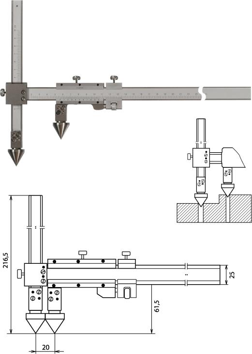 Nonius Messschieber für die Abstandsmessung, Mittelpunkt-Mittelpunkt 500 mm
