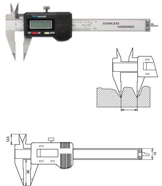 Digitaler Messschieber spitzen Messschenkeln  75 mm