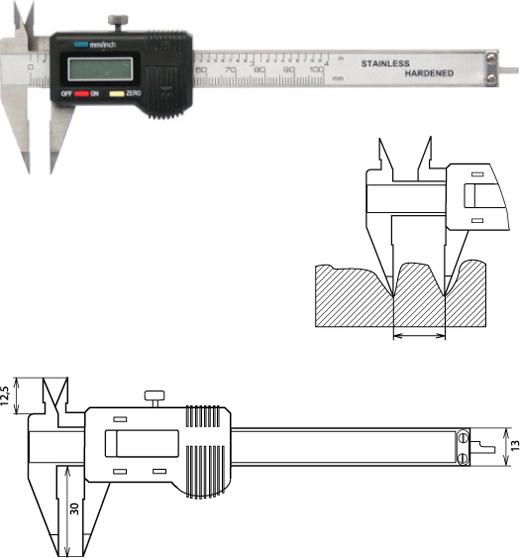 Digitaler Messschieber spitzen Messschenkeln 100 mm