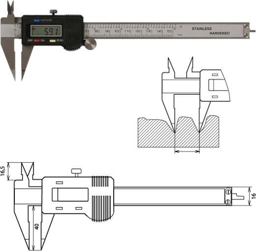 Digitaler Messschieber spitzen Messschenkeln 150 mm