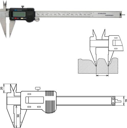 Digitaler Messschieber spitzen Messschenkeln 200 mm