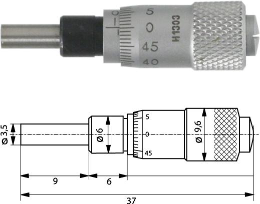 Einbaumessschraube  0-6,5 mm