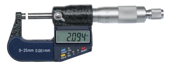 Digitale Bügelmessschraube 0-25 mm mit einer zusätzlichen analogen Ablesemöglichkeit, Toleranz einstellbar