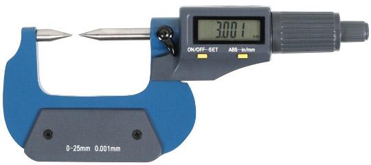 Digitale Bügelmessschraube mit Messspitzen  0-25 mm, Lithium