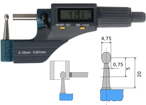 Digitale Bügelmessschraube für Rohrwanddickenmessung  0-25 mm, Lithium