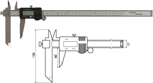 Digitaler Messschieber mit verschiebbarem Messschenkel für die Stufenmessung 300 mm