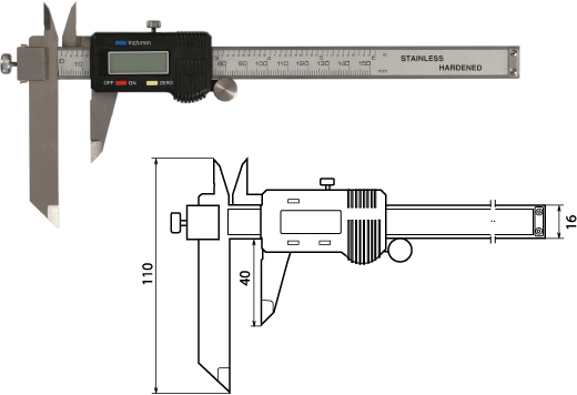 Digitaler Messschieber mit verschiebbarem Messschenkel für die Stufenmessung 150 mm