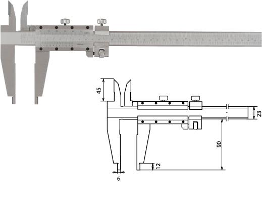 Nonius-Werkstattmessschieber 500 mm, Form D