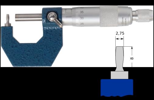 Bügelmessschraube zur Rohrwanddickenmessung mit stiftförmigem Amboss  0-25 mm